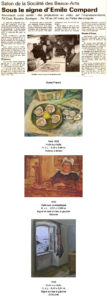 Palmarès : Prix du public : M. STEPHANOÉmile Compard Un article de Wikipédia, l'encyclopédie libre. Émile Compard est un peintre contemporain français, né à Paris en 1900 et décédé à Nogent-sur-Marne en 1977. Il fut élève de l'École des Beaux-Arts de Paris, de l'Académie Julian et de l'Académie cubiste d'Araujo. Dans sa première période (figurative), Émile Compard est influencé par Pierre Bonnard dont il est l'ami et avec qui il échange des toiles. Peintre de nus et de paysages, il est fasciné par l'automobile. Il réalise une grande décoration pour l'Exposition Universelle de Paris en 1937. Il fréquente régulièrement la Bretagne (Le Faouët dans les années 20, puis Doëlan à partir de 1936). Il était soutenu par le critique Félix Fénéon et reconnu par Matisse. Compard connaît une seconde période très différente : épris de philosophie et influencé par le taoïsme, il s'oriente vers la non figuration après 1946 et devient l'un des chefs de file de l'abstraction française d'après-guerre. Il était l'ami de Pierre Tal-Coat (1905-1985), Georges Mathieu et Jean Degottex. Jean Lescure est l'un des écrivains qui ont consacré des textes à son œuvre Le musée du Faouët (Morbihan) lui a consacré une grande rétrospective en 1999. Récupérée de « http://fr.wikipedia.org/wiki/%C3%89mile_Compard »