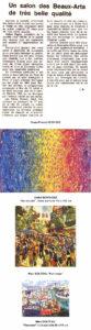 """Palmarès : Grand Prix de la ville de LORIENT : A et D BONNEC Prix de la SLBA : Jean-Michel MEFORT Prix de la Chambre de Commerce : Didier SOUL Prix de la Caisse d'Epargne : Christian LANTIN Médaille """"Liberté du Morbihan"""" : Béatrice GRASSET Première médaille de la Ch. de Commerce : Christophe DUBOIS Deuxième médaille de la CCIM : Catherine COLLET Jury : Mme LARZUL, proviseur du LP M. LE FRANC Me PIGREE, Président de la SLBA M. GARRIGUES, Musée de l'Hôtel de Ville M. JY DUBOIS, Prés. de la Chapelle Ste Barbe M. E MELIN, trésorier de la SLBA M. Théo HENRY, journaliste ( Lib. du Morbihan)"""